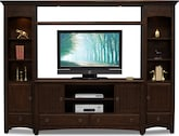 Entertainment Furniture-Wentworth II Dark 4 Pc. Entertainment Wall Unit