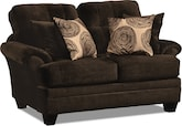 Living Room Furniture-Catalina Chocolate Loveseat