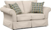 Living Room Furniture-Biscayne White Loveseat
