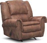 Living Room Furniture-Spokane Almond Recliner