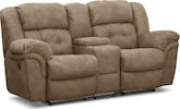 Living Room Furniture-Benton Pecan Reclining Loveseat with Console