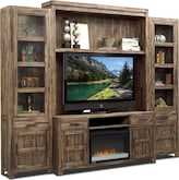 Entertainment Furniture-The Hutchinson Collection-Hutchinson 5 Pc. Entertainment Wall Unit w/ Fireplace