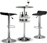 Dining Room Furniture-Carlo Benitez Black 3 Pc. Bar Set