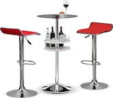 Dining Room Furniture-Carlo Benitez Red 3 Pc. Bar Set