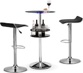 Dining Room Furniture-Carlo II Benitez Black 3 Pc. Bar Set