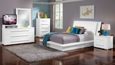 Bedroom Furniture-Prima White 7 Pc. Queen Bedroom