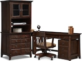 Home Office Furniture-The Wentworth Dark Collection-Wentworth Dark Desk with Hutch