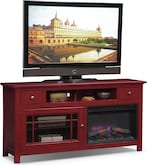 "Entertainment Furniture-Kittery Red 64"" Fireplace TV Stand"