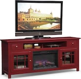 "Entertainment Furniture-Kittery Red 74"" Fireplace TV Stand"