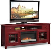 "Entertainment Furniture-The Kittery Red Collection-Kittery Red 74"" Fireplace TV Stand"