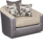 Living Room Furniture-Hampshire Pewter Swivel Chair