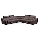 Living Room Furniture-Hampton Brown 5 Pc. Power Reclining Sectional (Alternate)