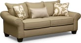 Living Room Furniture-Harlow Khaki Full Sleeper Sofa