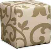 Living Room Furniture-Harlow Khaki Cube Ottoman