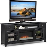 "Entertainment Furniture-The Kittery Black Collection-Kittery Black 74"" Fireplace TV Stand"