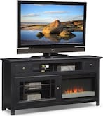 "Entertainment Furniture-Kittery Black 64"" Fireplace TV Stand"