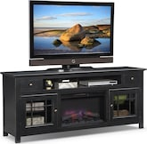 "Entertainment Furniture-Kittery Black 74"" Fireplace TV Stand"