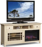 "Entertainment Furniture-Kittery White 64"" Fireplace TV Stand"