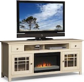 "Entertainment Furniture-Kittery White 74"" Fireplace TV Stand"