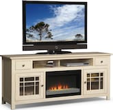 "Entertainment Furniture-The Kittery White Collection-Kittery White 74"" Fireplace TV Stand"