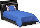 Bedroom Furniture-Prima II Black Twin Bed
