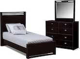 Kids Furniture-Kendall Espresso 5 Pc. Twin Bedroom