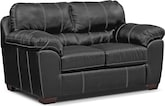 Living Room Furniture-Henson Black Loveseat