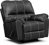 Living Room Furniture-Henson Black Rocker Recliner