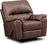 Living Room Furniture-Henson Brown Rocker Recliner