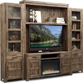 Entertainment Furniture-Hutchinson 5 Pc. Entertainment Wall Unit w/ Fireplace