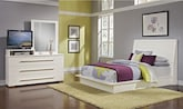 Bedroom Furniture-Prima II White 5 Pc. Queen Bedroom