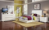 Bedroom Furniture-Prima II White 6 Pc. Queen Bedroom