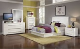 Bedroom Furniture-Prima II White 7 Pc. Queen Bedroom