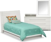 Bedroom Furniture-Prima II White 5 Pc. Twin Bedroom