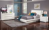 Bedroom Furniture-Prima White 6 Pc. King Bedroom