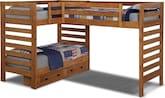 Kids Furniture-Drew III Twin L-Shaped Loft Bed w/ 2-Drawer Storage
