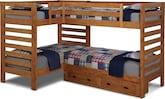 Kids Furniture-Drew II Double Twin Bunk Bed w/ 2-Drawer Storage