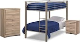 Kids Furniture-The Brody Mocha Collection-Brody Mocha 5 Pc. Twin Bedroom with 2 Mattresses
