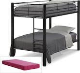 Kids Furniture-Brody Black 5 Pc. Full Bedroom with 2 Mattresses
