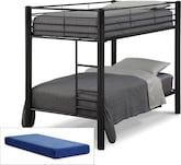 Kids Furniture-Brody Black 5 Pc. Twin Bedroom with 2 Mattresses