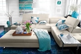 Living Room Furniture-The Milan White Collection-Milan White 2 Pc. Sectional