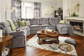 Living Room Furniture-The Telluride Gray Collection-Telluride Gray 6 Pc. Power Reclining Sectional