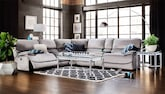 Living Room Furniture-The Encino Gray Collection-Encino Gray 6 Pc. Power Reclining Sectional