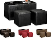 Accent and Occasional Furniture-The Moore Collection-Moore 3 Pc. Storage Ottoman with Trays