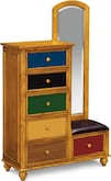 Kids Furniture-Riley Pine Tall Chest & Mirror