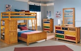 Kids Furniture-The Riley II Pine Collection-Riley II Pine Loft Bed with Full Bed