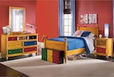 Kids Furniture-Riley Pine 6 Pc. Twin Bedroom