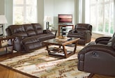 Living Room Furniture-The Easton Chocolate Collection-Easton Chocolate Reclining Sofa