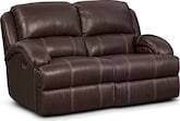 Living Room Furniture-Easton Chocolate Reclining Loveseat