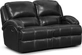 Living Room Furniture-Easton Black Reclining Loveseat